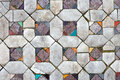Ancient mosaic floors texture closeup close up Royalty Free Stock Photos