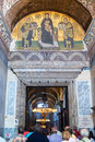Ancient mosaic image of the entrance to the hagia sophia istanbul turkey Royalty Free Stock Photography