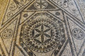 Ancient Mosaic ruins close up  in Roman villa in Risan, Monteneg Royalty Free Stock Photo