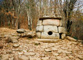 Ancient mystery stone dolmen in North Western Caucasus, Russia Royalty Free Stock Photo