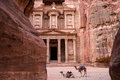 Ancient nabataean temple Al Khazneh Treasury located at Rose city - Petra, Jordan. Two camels infront of entrance. View from Siq