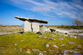 Ancient neolithic period poulnabrone dolmen portal tomb in the burren county clare ireland Royalty Free Stock Photos