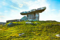 Ancient neolithic period poulnabrone dolmen portal tomb in the burren county clare ireland Royalty Free Stock Image