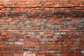 Ancient old red brick grunge wall fragment background, texture Royalty Free Stock Photo