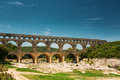 Ancient old Roman aqueduct of Pont du Gard, Nimes Royalty Free Stock Photo