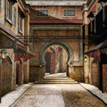 Ancient oriental street with hanging lamps Royalty Free Stock Photography