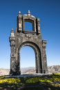 Ancient ornate arch quilli la paz bolivia on top of cerro from above with nevado illamani in the distance Royalty Free Stock Photos