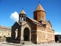Ancient orthodox stone monastery in armenia khor virap monastery made of red brick beautiful landscape sunny day deep blue sky Royalty Free Stock Image