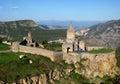 Ancient orthodox stone monastery in armenia tatev monastery made of gray brick beautiful landscape sunny day deep blue sky with Stock Photo