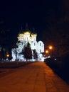 Ancient ortodox christian curch in the night in yaroslavl Stock Image
