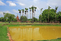 Ancient pagoda and reflection on pond at sukhothai the historical park in thailand Royalty Free Stock Photos
