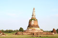 Ancient pagoda in ruined old temple at Ayutthaya historical park Stock Photo