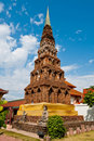 Ancient pagoda at Wat Phrathat Hariphunchai temple Royalty Free Stock Photography