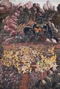 Ancient painted fresco in Thai style Royalty Free Stock Photography