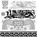 Ancient patterns with mayan gods Royalty Free Stock Images