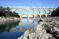 Ancient Pont du Gard Aqueduct, South France Royalty Free Stock Photo