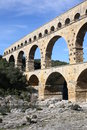 The ancient Pont du Gard Aqueduct in South France Royalty Free Stock Photo
