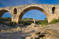 Ancient Pont Julien in Provence (France) Stock Images