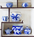 Ancient porcelain bowl placed on the shelves Stock Photos