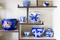 Ancient porcelain bowl placed on the shelves Royalty Free Stock Photos