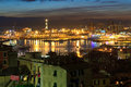 The ancient port in genova italy overview of thev at evening liguria Stock Images