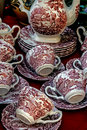 Ancient pottery old ceramic cups with red paintings applied Royalty Free Stock Image