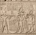 Ancient relief at chnum temple stone in egypt Royalty Free Stock Images