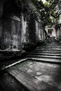Ancient road and stone tablet baisha town in chongqing city have a history of five thousand year still exist but was severely Royalty Free Stock Photo