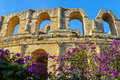Ancient roman amphitheater in el jem tunisia Stock Image