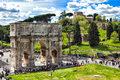 Ancient roman buildings in rome italy constantin emperor arch near colosseum of Royalty Free Stock Images