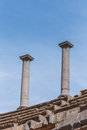 Ancient roman column with blue sky background bosra al sham syria Royalty Free Stock Image