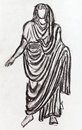 Ancient roman emperor in a toga historical costume styled with statue of the st century bc Stock Images