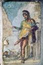 Ancient roman fresco of the roman god of fertility and lust Pri Royalty Free Stock Photo