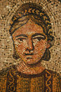 Ancient roman mosaic of young woman Royalty Free Stock Photo