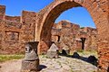 Ancient roman ruins the bakery at ostia antica near rome italy Royalty Free Stock Photography