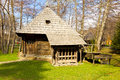 Ancient romanian watermill house park Stock Image