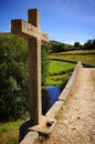 Ancient romanic bridge portuguese countryside landscape with an Royalty Free Stock Photography