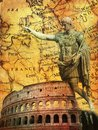 Ancient Romans Signs Background with Imperator Statue Conqueror Colosseum  Old Europe Map Royalty Free Stock Photo