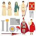 Ancient Rome male and female characters and old relics