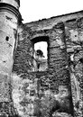 Ancient ruin artistic look in black and white abandoned places biedrusko poland Royalty Free Stock Photo