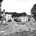 Ancient ruin artistic look in black and white abandoned places biedrusko poland Royalty Free Stock Image