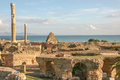 Ancient ruins at carthage tunisia with the mediterranean sea in the background Stock Images
