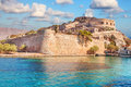 Ancient ruins of a fortified leper colony - Spinalonga Kalydon island Royalty Free Stock Photo