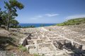 Ancient ruins of kamiros in rhodes greece Stock Photos