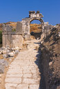 Ancient ruins lycian and the old stone road in xanthos turkey Stock Photography