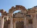 Ancient ruins of old greek city of ephesus the buildings in which was a famous now in turkey Royalty Free Stock Photos