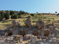 Ancient ruins of old greek city of ephesus the buildings in which was a famous now in turkey Royalty Free Stock Photo