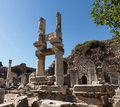 Ancient ruins of old greek city of ephesus the buildings in which was a famous now in turkey Royalty Free Stock Images