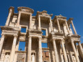 Ancient ruins of old greek city of ephesus library celcus in the buildings in which was a famous now in turkey Royalty Free Stock Photos