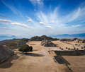 Ancient ruins on plateau Monte Alban in Mexico Royalty Free Stock Photo